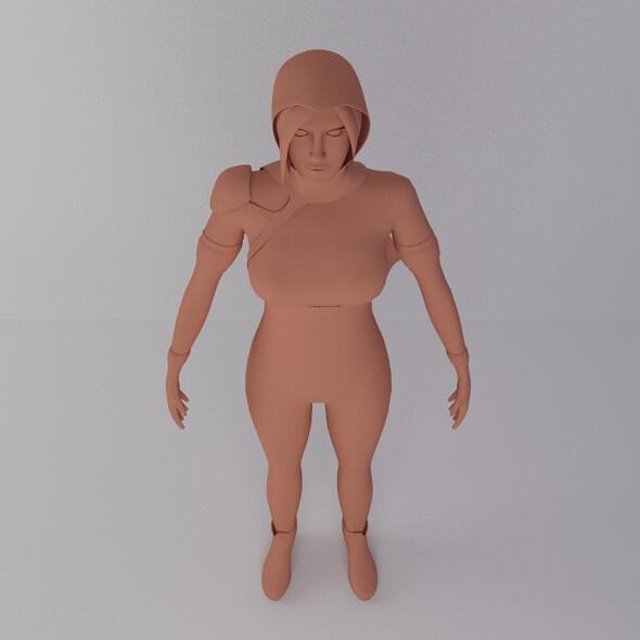 Female Game Character 3D Model